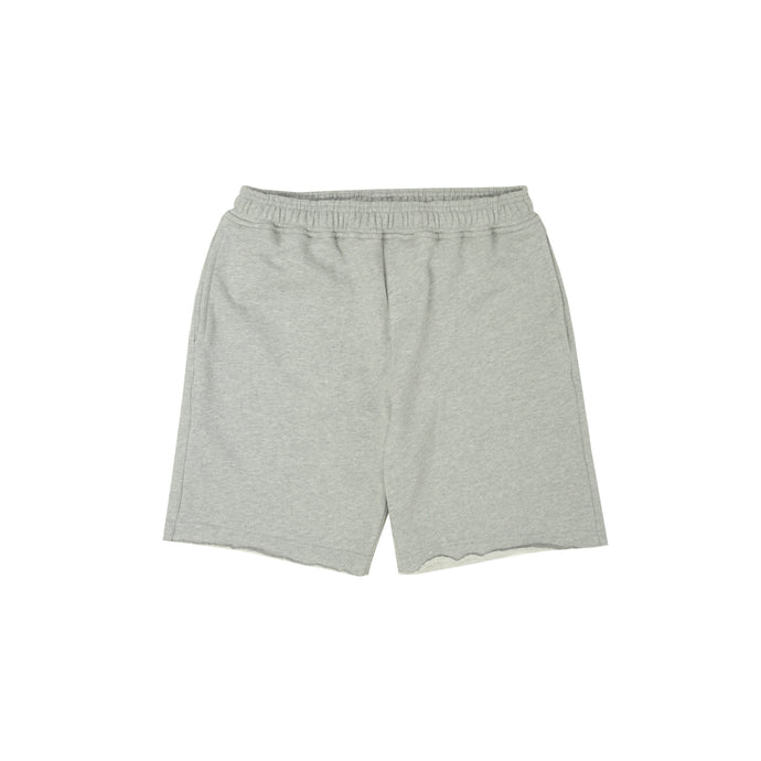 LIGHT GREY RAW HEM SHORTS