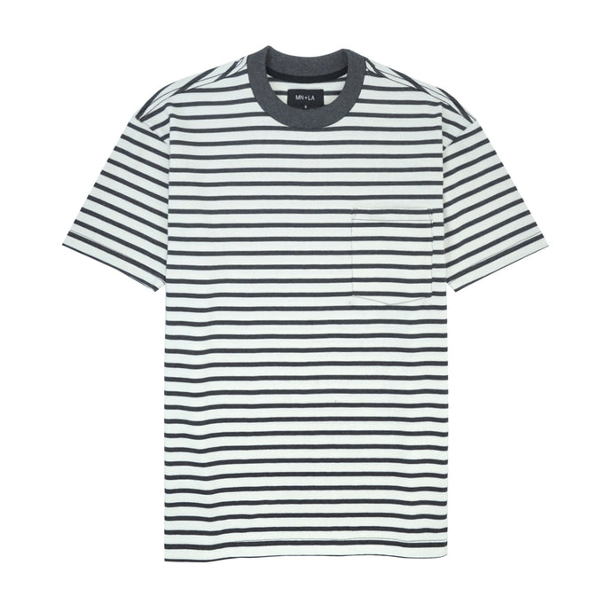 GREY/BONE STRIPED POCKET BOX TEE