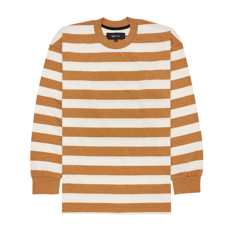 CARAMEL/BONE STRIPED LONGSLEEVE TEE