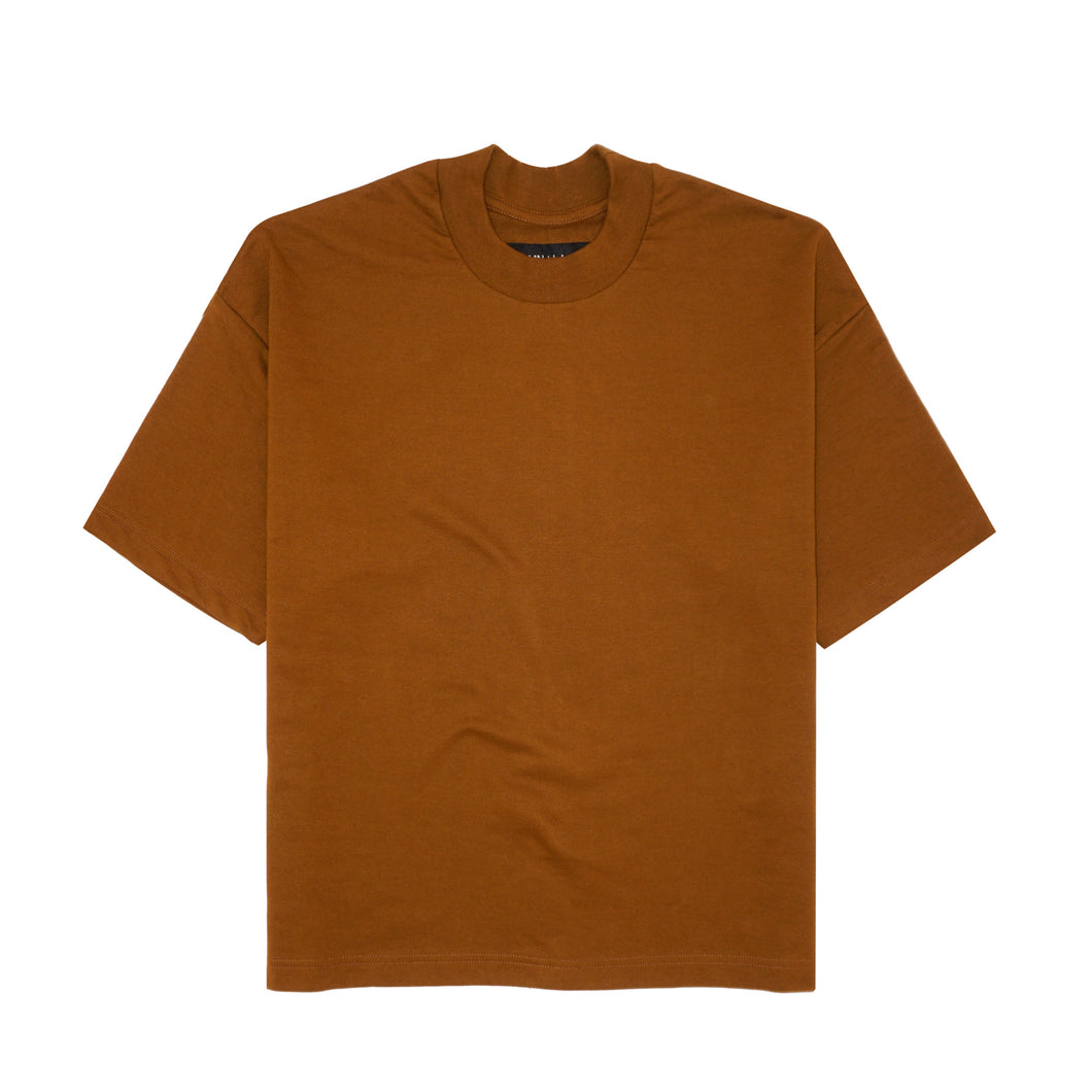 RUST FRENCH TERRY MOCK NECK TEE