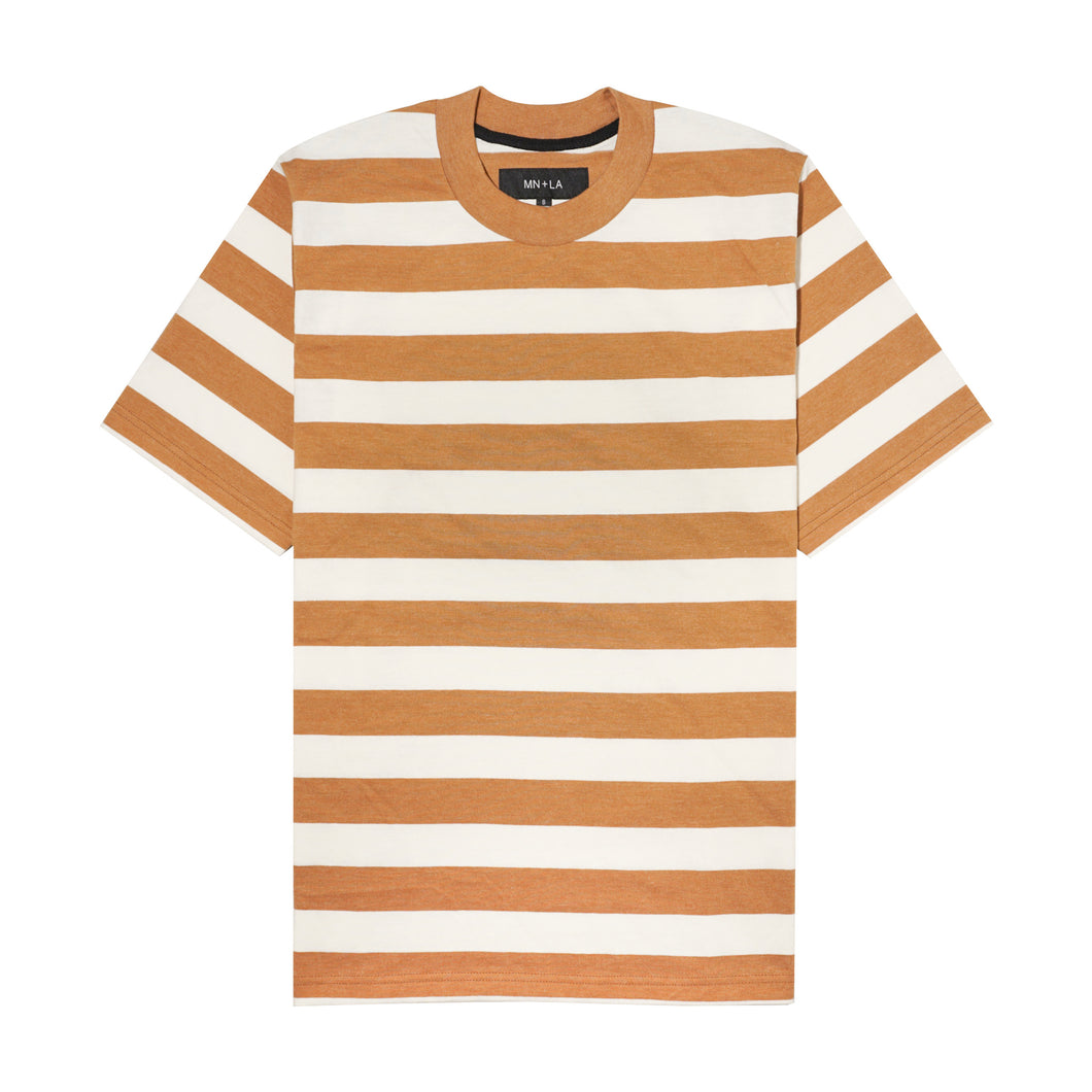 CARAMEL/BONE STRIPED OVERSIZED TEE