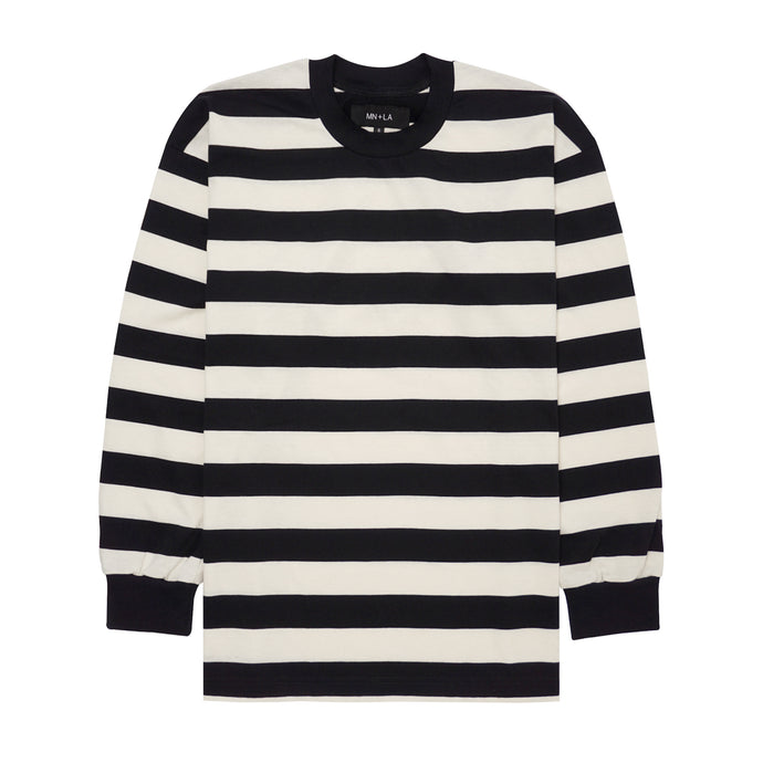BLACK/BONE STRIPED LONGSLEEVE TEE