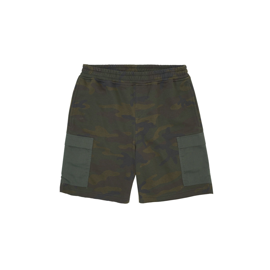 CAMO RAW HEM 5 POCKET SWEATSHORTS