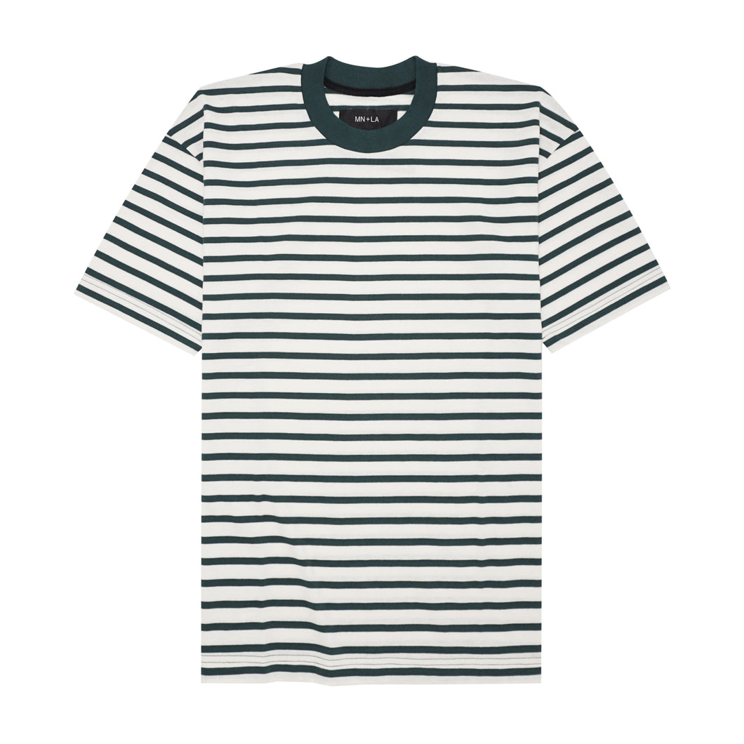 HUNTER GREEN/BONE PINSTRIPED BOX TEE