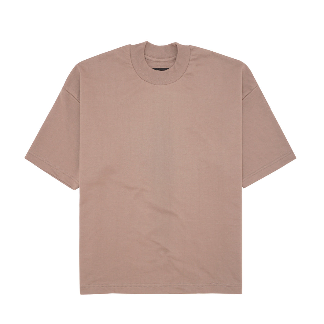 MAUVE FRENCH TERRY MOCK NECK TEE