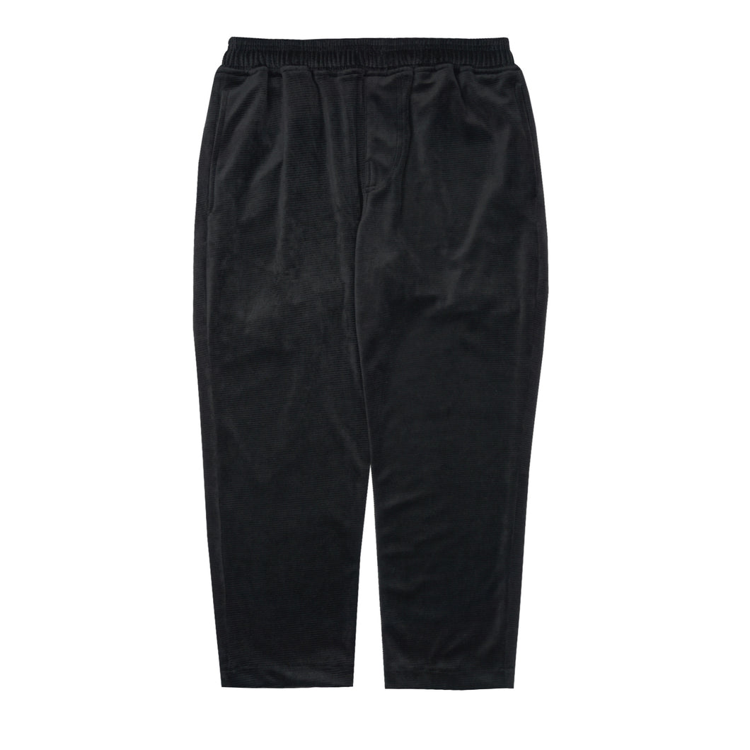 BLACK VELOUR HORIZONTAL CORDUROY CROPPED PANTS