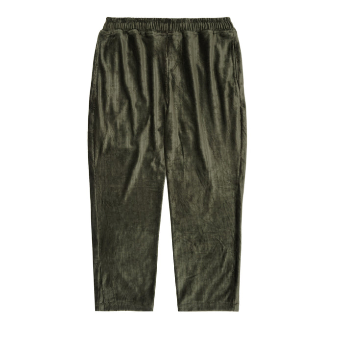 OLIVE VELOUR CORDUROY CROPPED PANTS