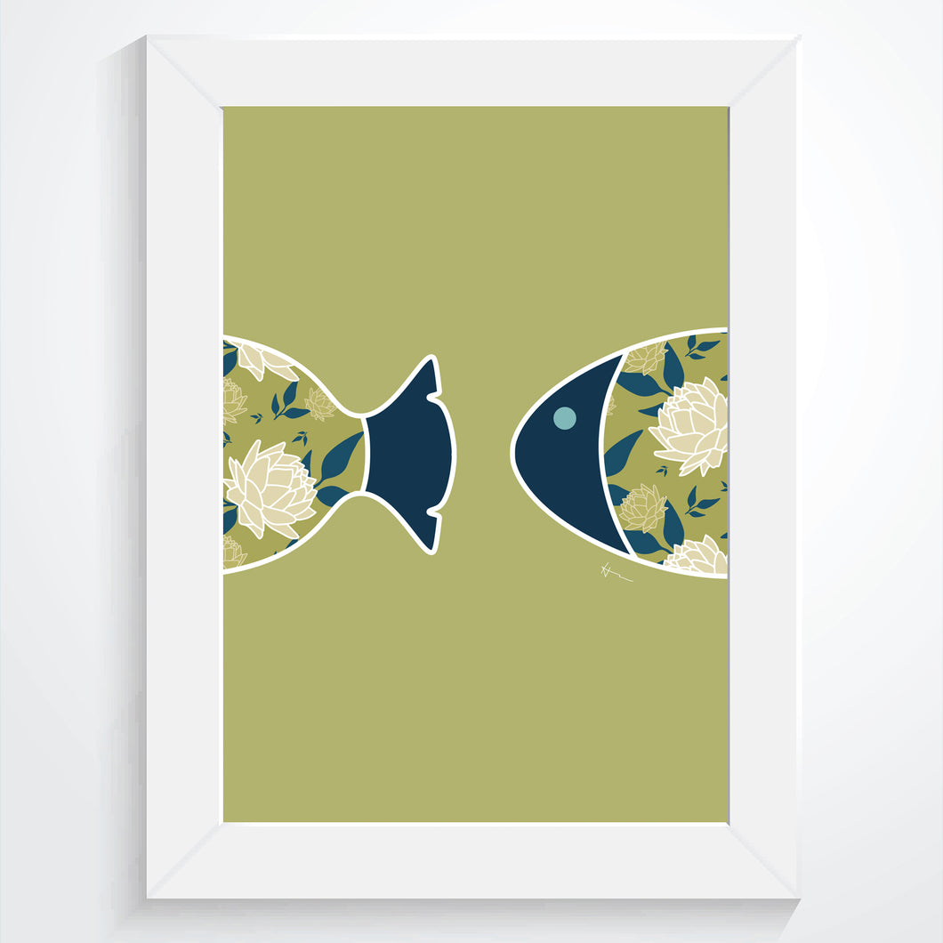 Fish Swimming Through the Ocean | Buds & Blooms Pattern  -  Art Print