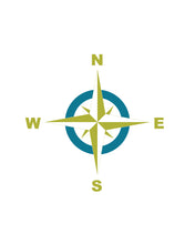 The compass rose in teal and lime green colours.