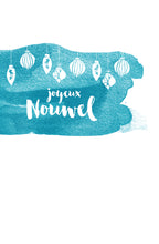 A watercolour that say Merry Christmas in Acadian french.