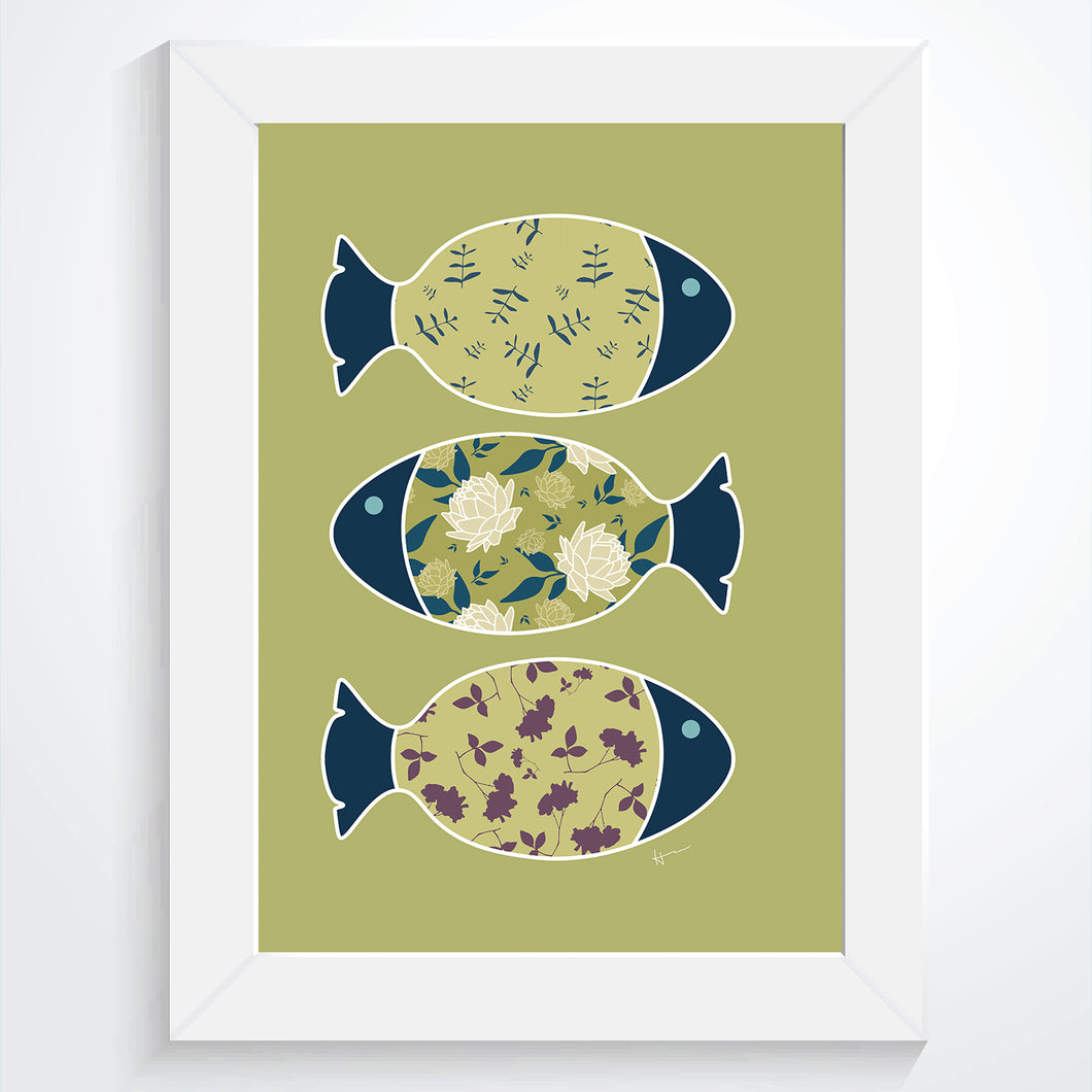 Three Swimming Fish & the Ocean |Olive - Art Print