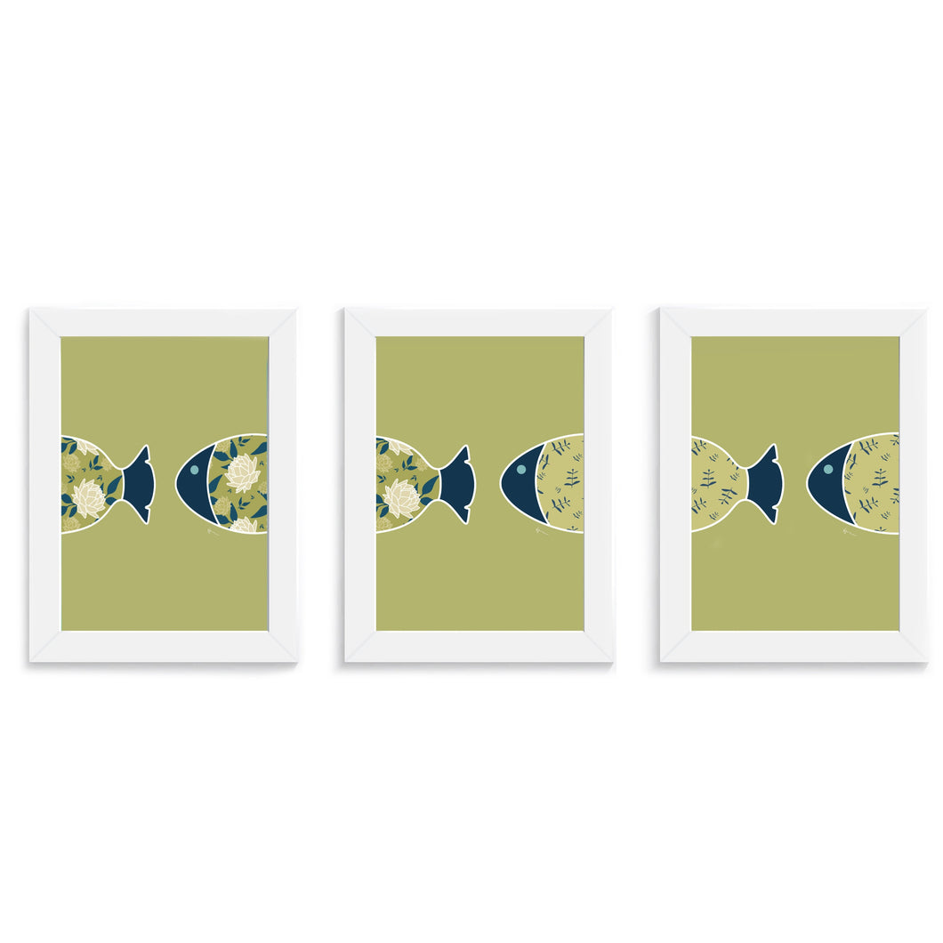 Fish Swimming Through the Ocean- Three Art Prints