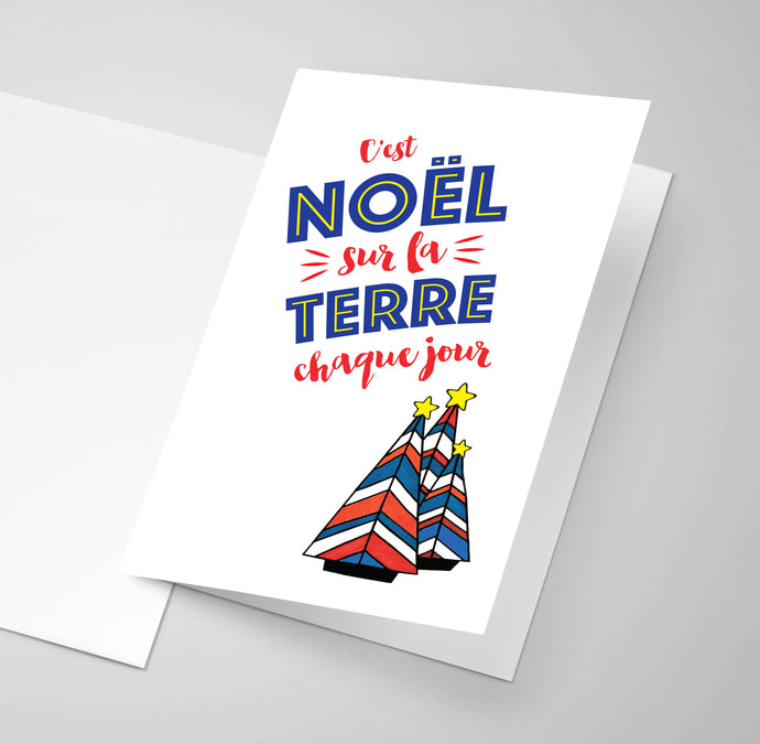 An Acadian Christmas greeting card in the Acadian flag colours.