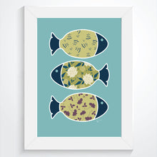 Three Swimming Fish & the Ocean  | Blue - Art Print