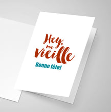 An Acadian birthday saying printed on the front of a greeting card.