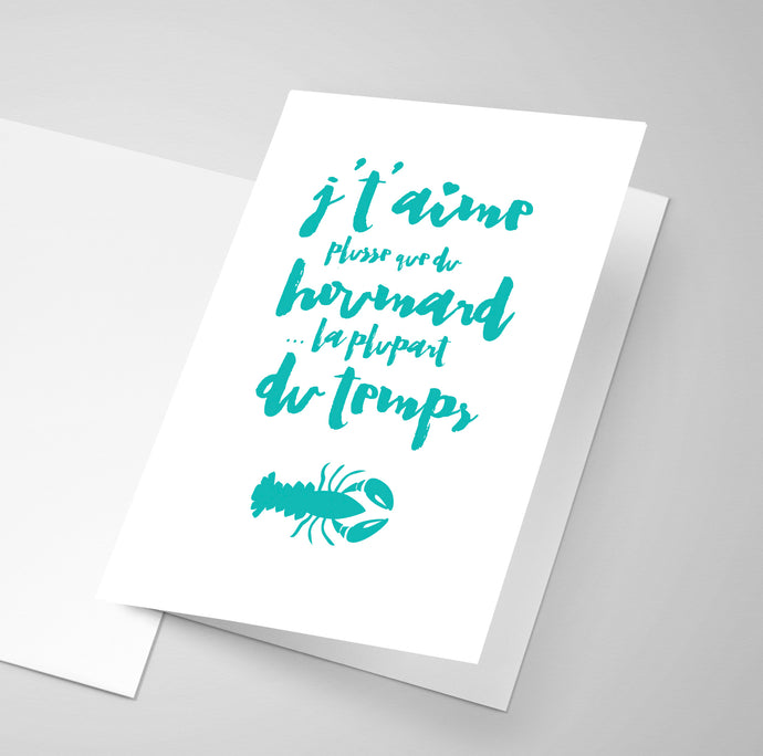 An Acadian greeting card with a saying about lobster.