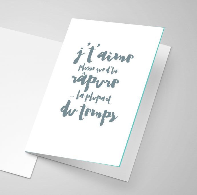 An Acadian greeting card about rappie pie / râpure