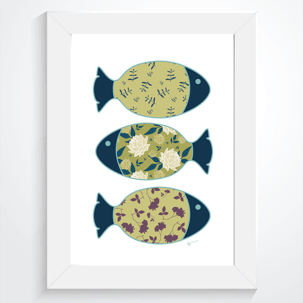 Three Swimming Fish & the Ocean | White - Art Print