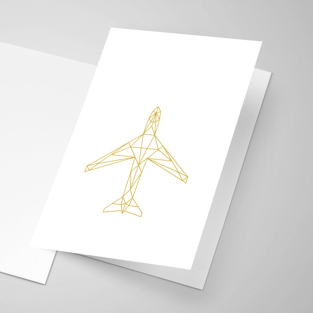 A geometric illustration of an aircraft on the front of a greeting card.