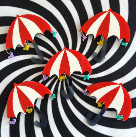 Penguins Umbrella Brooch