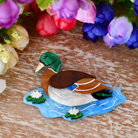 James Pond - a handsome duck dancing amongst the water lilies brooch