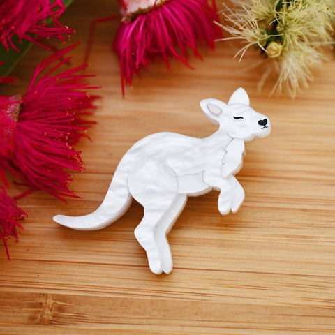 Bruny - White mini wallaby brooch