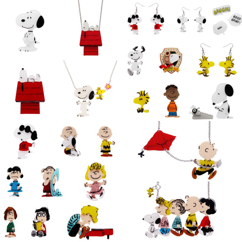 Full Peanuts Collection - Earrings, Necklaces and Brooches 24 Pieces
