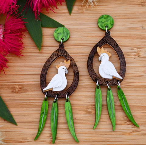 Clary the Cockatoo earrings