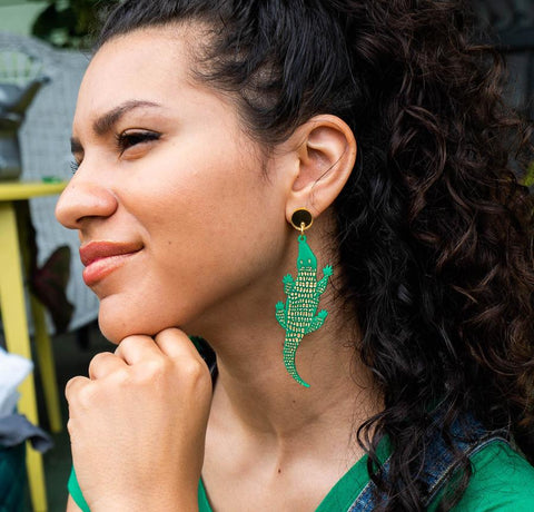 Green Alligator Earrings