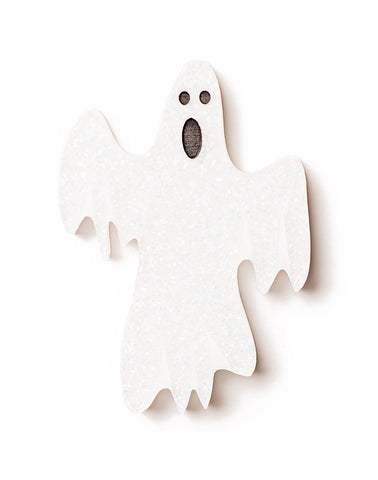 Halloween - VERY Scary Ghost Brooch - Glitter