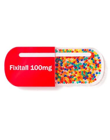 Fixitall Pill Brooch Red