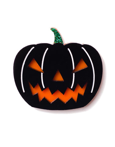 Evil Pumpkin Brooch Black