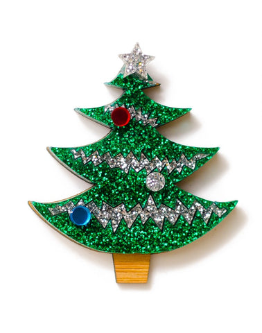 Christmas Tree with Silver Tinsel Brooch