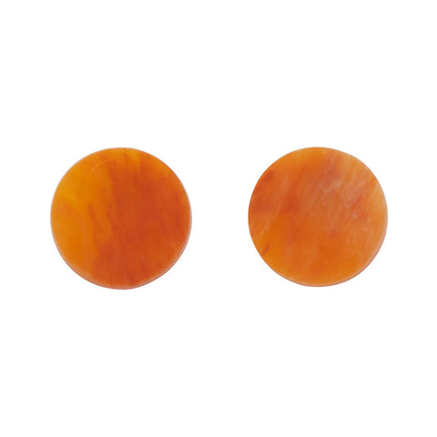 Essential Circle Marble Resin Stud Earrings - Orange
