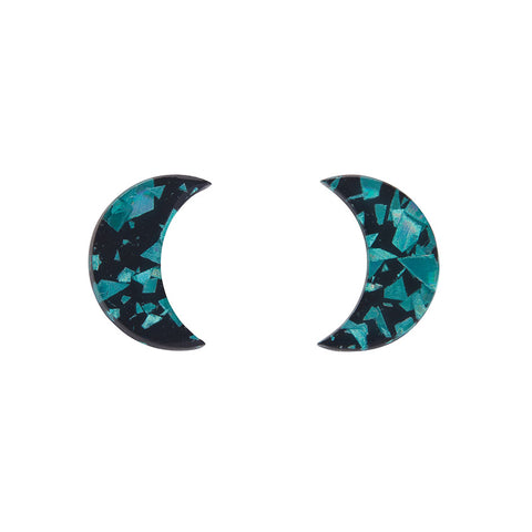 Essential Crescent Moon Chunky Glitter Resin Stud Earrings - Teal