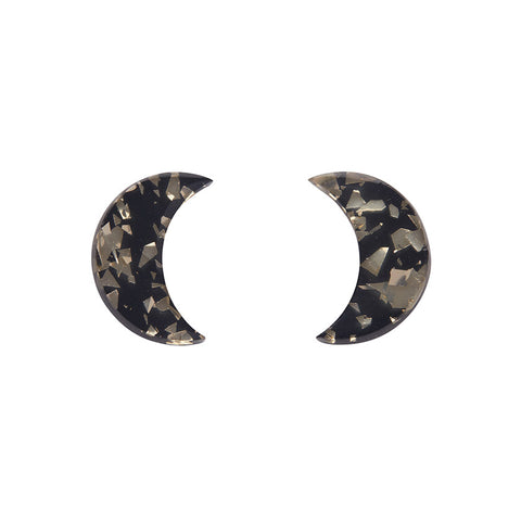 Essential Crescent Moon Chunky Glitter Resin Stud Earrings - Gold