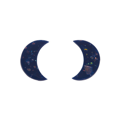 Essential Crescent Moon Solid Glitter Resin Stud Earrings - Dark Blue