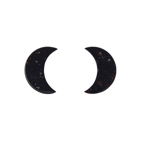 Essential Crescent Moon Glitter Resin Stud Earrings - Black