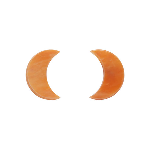 Essential Crescent Moon Marble Resin Stud Earrings - Orange