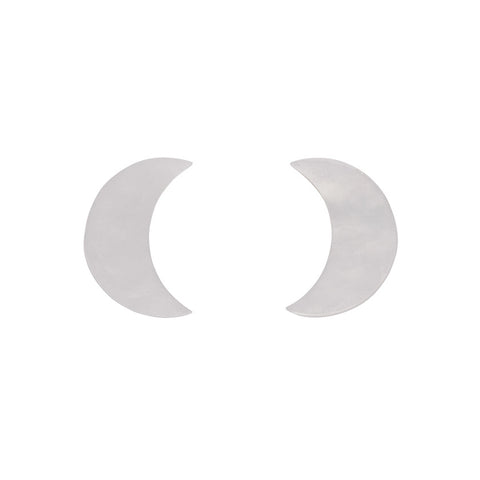Essential Crescent Moon Ripple Resin Stud Earrings - White