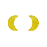 Essential Crescent Moon Glitter Resin Stud Earrings - Yellow