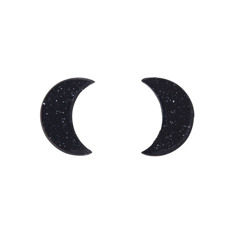 Essential Crescent Moon Solid Glitter Resin Stud Earrings - Black