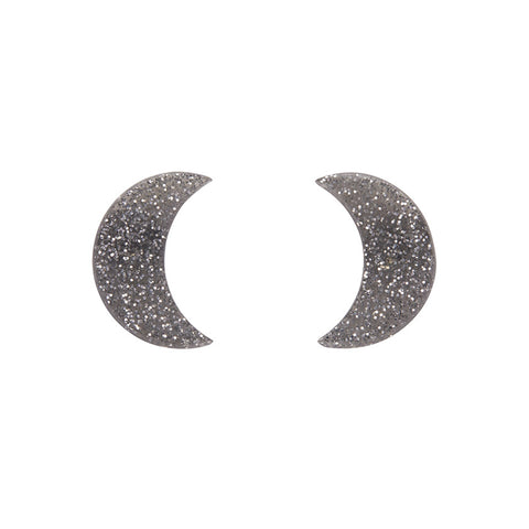 Essential Crescent Moon Glitter Resin Stud Earrings - Silver