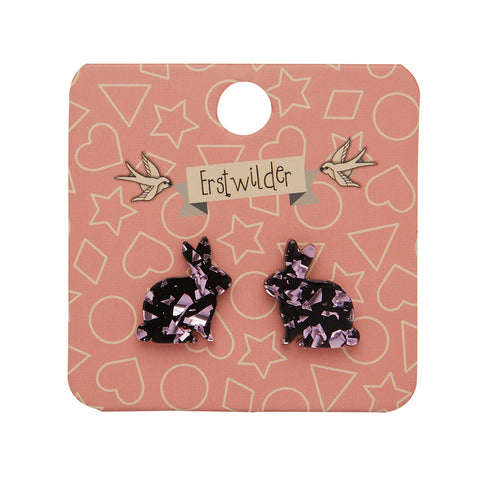Bunny Chunky Glitter Resin Stud Earrings - Pink