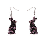 Bunny Chunky Glitter Resin Drop Earrings - Pink