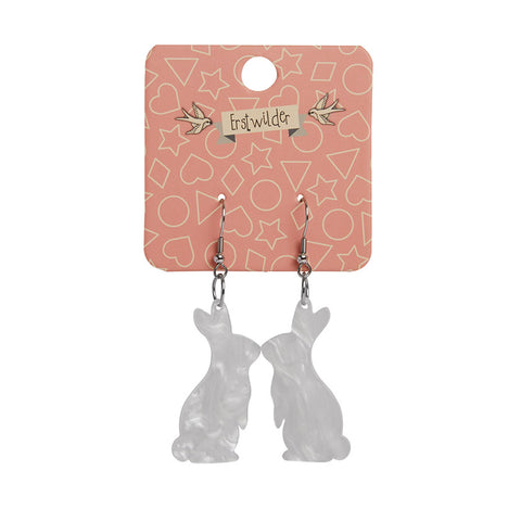 Bunny Textured Resin Drop Earrings - White