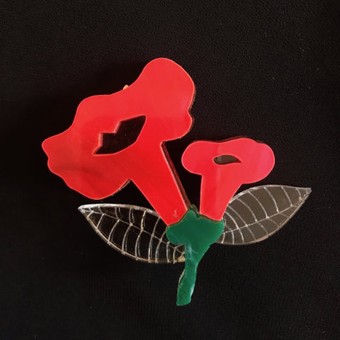 Crystal Menagerie Flower Red Brooch