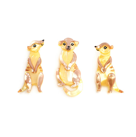 Three's a Manner Meerkat Brooch Set