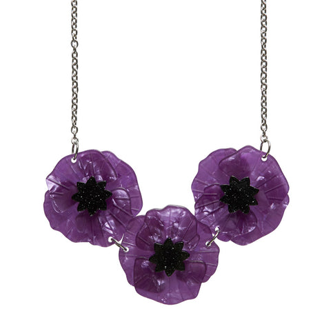 Poppy Field Purple Necklace NEW