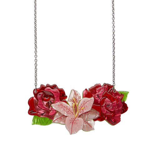 Tickled Pink Rose, Lily & Peony Necklace (Small)